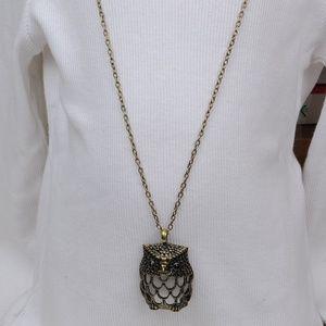 Rachel Brass Chain Owl Pendant Necklace #139